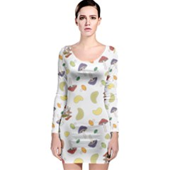 Mushrooms Pattern Long Sleeve Bodycon Dresses