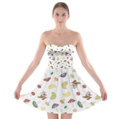 Mushrooms Pattern Strapless Bra Top Dress