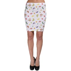 Mushrooms Pattern White Line Bodycon Skirts