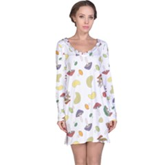 Mushrooms 002b Long Sleeve Nightdresses