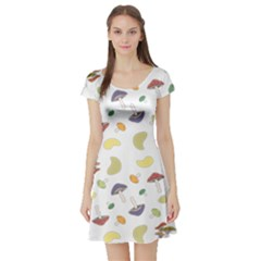 Mushrooms 002b Short Sleeve Skater Dresses