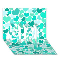 Heart 2014 0917 Girl 3d Greeting Card (7x5)