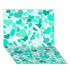 Heart 2014 0917 Peace Sign 3d Greeting Card (7x5)