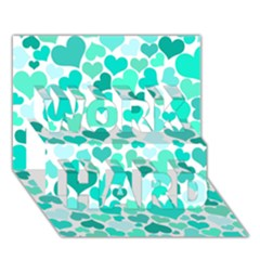 Heart 2014 0917 WORK HARD 3D Greeting Card (7x5)