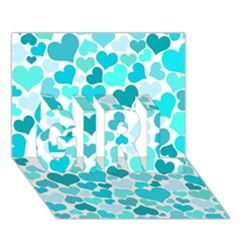 Heart 2014 0918 Girl 3d Greeting Card (7x5)