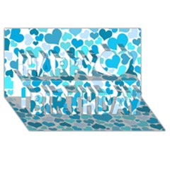 Heart 2014 0919 Happy Birthday 3D Greeting Card (8x4)