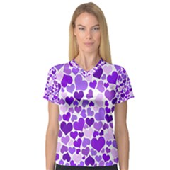 Heart 2014 0927 Women s V-Neck Sport Mesh Tee