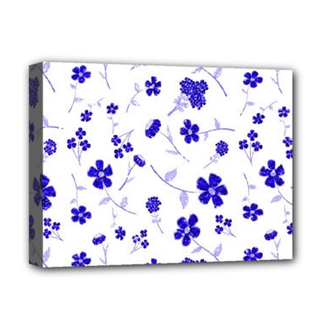 Sweet Shiny Flora Blue Deluxe Canvas 16  X 12