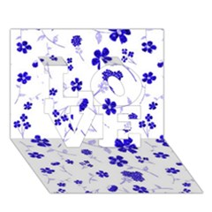 Sweet Shiny Flora Blue Love 3d Greeting Card (7x5)