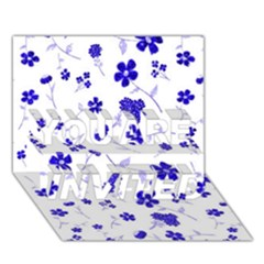 Sweet Shiny Flora Blue YOU ARE INVITED 3D Greeting Card (7x5)