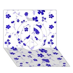 Sweet Shiny Flora Blue Peace Sign 3d Greeting Card (7x5)