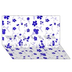 Sweet Shiny Flora Blue ENGAGED 3D Greeting Card (8x4)