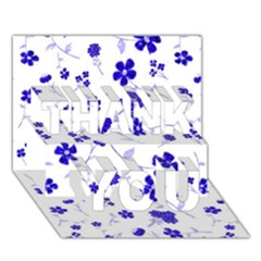 Sweet Shiny Flora Blue THANK YOU 3D Greeting Card (7x5)