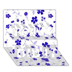 Sweet Shiny Flora Blue You Did It 3d Greeting Card (7x5)