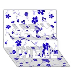 Sweet Shiny Flora Blue Get Well 3D Greeting Card (7x5)