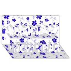 Sweet Shiny Flora Blue Happy New Year 3d Greeting Card (8x4)