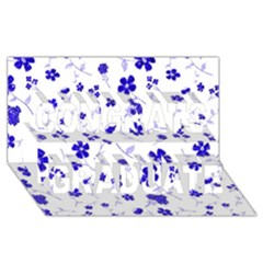 Sweet Shiny Flora Blue Congrats Graduate 3d Greeting Card (8x4)