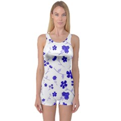 Sweet Shiny Flora Blue Women s Boyleg One Piece Swimsuits