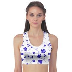 Sweet Shiny Flora Blue Sports Bra