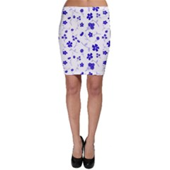 Sweet Shiny Flora Blue Bodycon Skirts