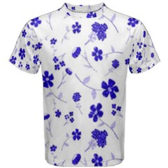 Sweet Shiny Flora Blue Men s Cotton Tees
