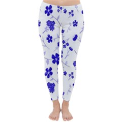 Sweet Shiny Flora Blue Winter Leggings