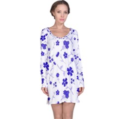 Sweet Shiny Flora Blue Long Sleeve Nightdresses