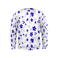 Sweet Shiny Flora Blue Boys  Sweatshirts