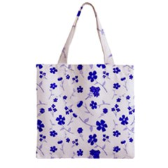 Sweet Shiny Flora Blue Zipper Grocery Tote Bags