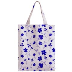 Sweet Shiny Flora Blue Zipper Classic Tote Bags