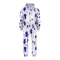 Sweet Shiny Flora Blue Hooded Jumpsuit (Kids)