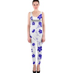 Sweet Shiny Flora Blue Onepiece Catsuits