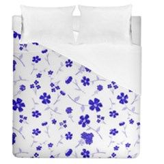 Sweet Shiny Flora Blue Duvet Cover Single Side (full/queen Size)