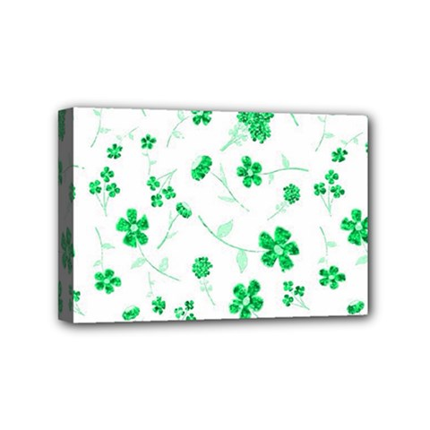Sweet Shiny Floral Green Mini Canvas 6  X 4