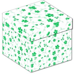 Sweet Shiny Floral Green Storage Stool 12