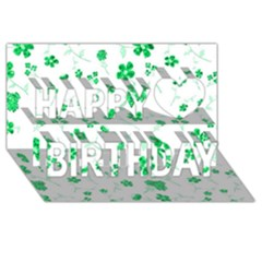 Sweet Shiny Floral Green Happy Birthday 3D Greeting Card (8x4)