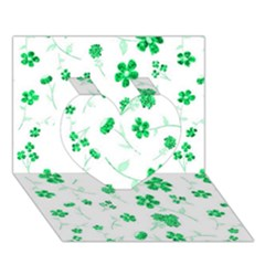 Sweet Shiny Floral Green Heart 3d Greeting Card (7x5)