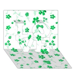 Sweet Shiny Floral Green Love 3d Greeting Card (7x5)