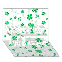 Sweet Shiny Floral Green YOU ARE INVITED 3D Greeting Card (7x5)