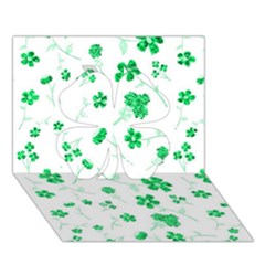 Sweet Shiny Floral Green Clover 3d Greeting Card (7x5)