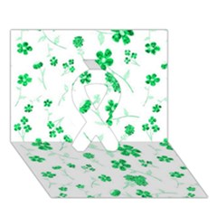 Sweet Shiny Floral Green Ribbon 3d Greeting Card (7x5)