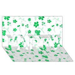 Sweet Shiny Floral Green PARTY 3D Greeting Card (8x4)