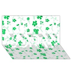 Sweet Shiny Floral Green SORRY 3D Greeting Card (8x4)