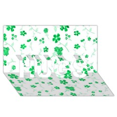 Sweet Shiny Floral Green HUGS 3D Greeting Card (8x4)