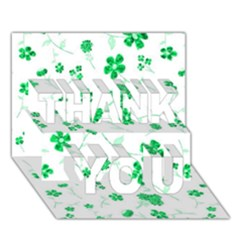 Sweet Shiny Floral Green THANK YOU 3D Greeting Card (7x5)