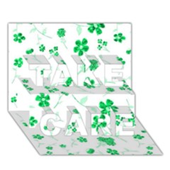 Sweet Shiny Floral Green TAKE CARE 3D Greeting Card (7x5)