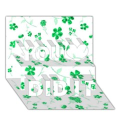 Sweet Shiny Floral Green You Did It 3D Greeting Card (7x5)