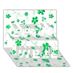 Sweet Shiny Floral Green Get Well 3d Greeting Card (7x5)
