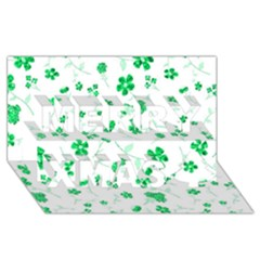 Sweet Shiny Floral Green Merry Xmas 3d Greeting Card (8x4)