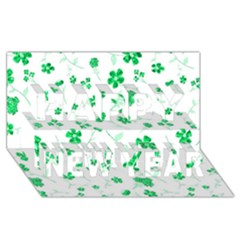 Sweet Shiny Floral Green Happy New Year 3d Greeting Card (8x4)